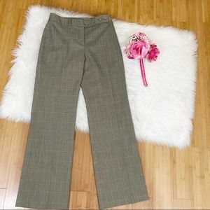 Ann Taylor Tan Plaid Lined Pleated Trouser Pants